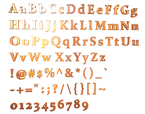 3D asset Low Poly English Letters - Copper