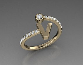 Jewelry Alphabet Diamond Ring V 3D print model