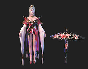 Ancient Asian beauty slim character 3d Low-poly low-poly