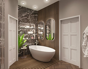 3D Bathroom model with sanitary ware - Corona materials