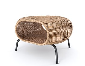3D GAMLEHULT Footstool with storage rattan anthracite