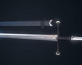 Realistic Low poly long sword 3D asset