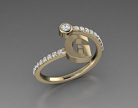 Jewelry Alphabet Diamond Ring G 3D print model