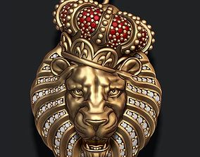 3D printable model Lion pendant with diamonds and opened