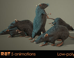 3D model animated Rat five animations