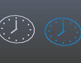 Low poly Clock symbols 1 3D asset