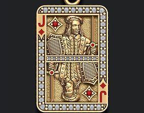 Diamonds Jack playing card pendant 3D printable model