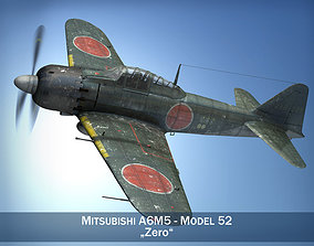 3D model aircraft-carrier Mitsubishi A6M5 Zero-sen Typ52