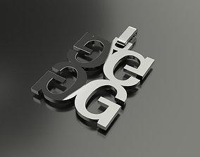 3D printable model Pinwheel Letter G Necklace