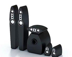3D Black Modern Plastic Speaker Set