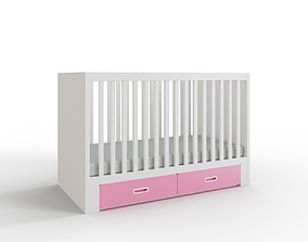 STUVA FRITIDS Crib with drawers light pink 3D asset