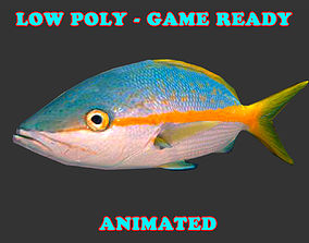 3D model Low Poly Yellow Snapper Fish Animated - Game