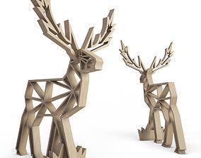 Wooden Deer Sculpture 3D