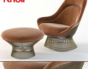 knoll Warren Platner Easy Chair- ottoman- Knoll 3D