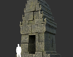 3D asset Low poly Mossy Ruin Asia Temple 02