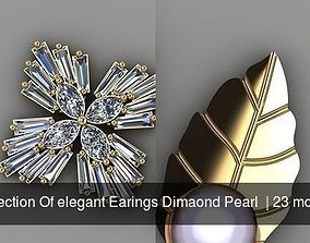 Collection Of elegant Earings Dimaond Pearl 3D