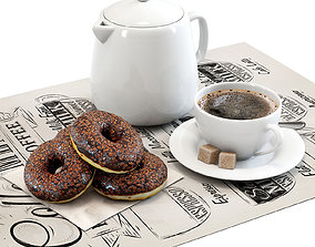 Coffee shop Donuts set 01 3D