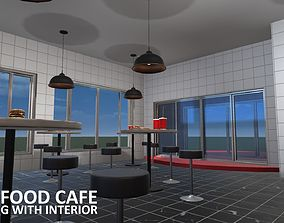 3D asset Fast Food Cafe - building with interior