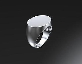 Oval signet ring 3D print model rings