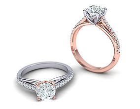 Petite Engagement ring Two tone with 1ct stone