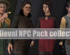 Medieval NPC Pack collection girl 3D