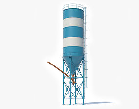 Cement Silo Low Poly 3D asset