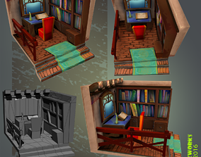 Medieval Library Interior LowPoly 3D asset