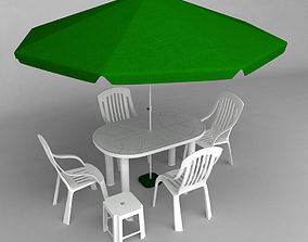 3D Garden plastic furniture set 2