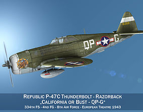Republic P-47C Thunderbolt - California or Bust - 3D model