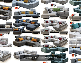 Collection of 9 Wersal sofas 3D model