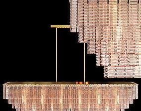 RH SIRENE LINEAR CHANDELIER 72 Brass Clear Glass 3D