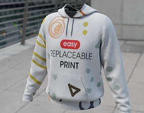 3D asset Replaceable print hoodie sweatshirt - male