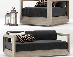 RH Outdoor Paloma teak sofa 3D