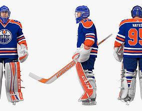 Edmonton Oilers Hockey Goalkeeper Standing Pose 3D model