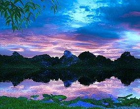 3D Lakeside park scenery 007