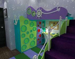 bedroom 3D model Kids Bedroom
