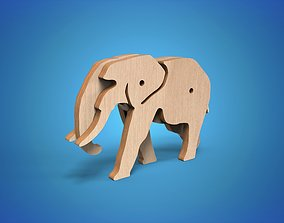 Wooden Animal Toy Elephant 3D model tusk