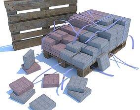3D model Paving slabs on a wooden pallet