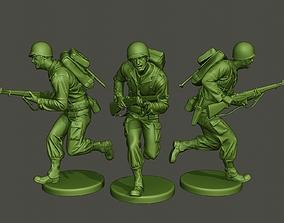 American soldier ww2 run A1 3D print model