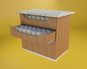 MDF Cabinet with 2 drawers 3D model