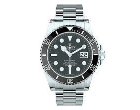 Rolex Submariner Date Oystersteel Black Plate 3D model