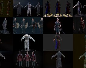 Medieval characters pack 3D model PBR