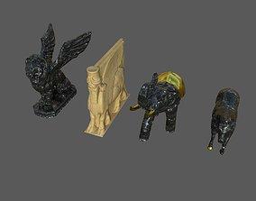 3D asset Statue Lamassu Lion Elephant Horse