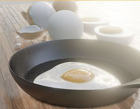 3D asset boiled eggs fried eggs and frying pan