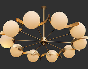 3D Vintage Twelve Arm Chandelier in the Style of Stilnovo