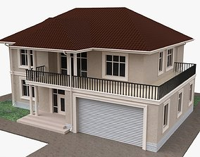 3D Building house two-story villa with garage