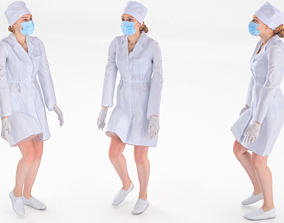 3D model Scan rigged female medical nurse 01