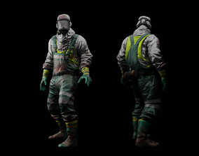 Hazmat Suit 3D model animated VR / AR ready