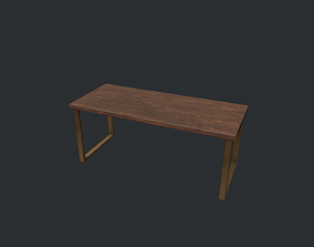 3D asset Wooden Modern Table