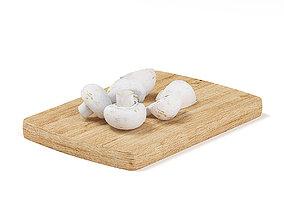 Sliced Mushrooms on Wooden Board 3D model